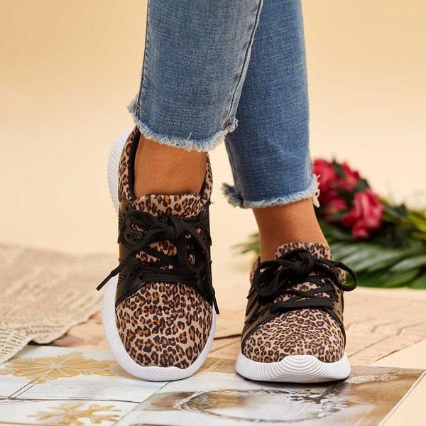 Flipmoda Women Fashion Leopard Flat Sneakers