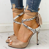 Flipmoda Snake Print Lace Up Tassel High Heels