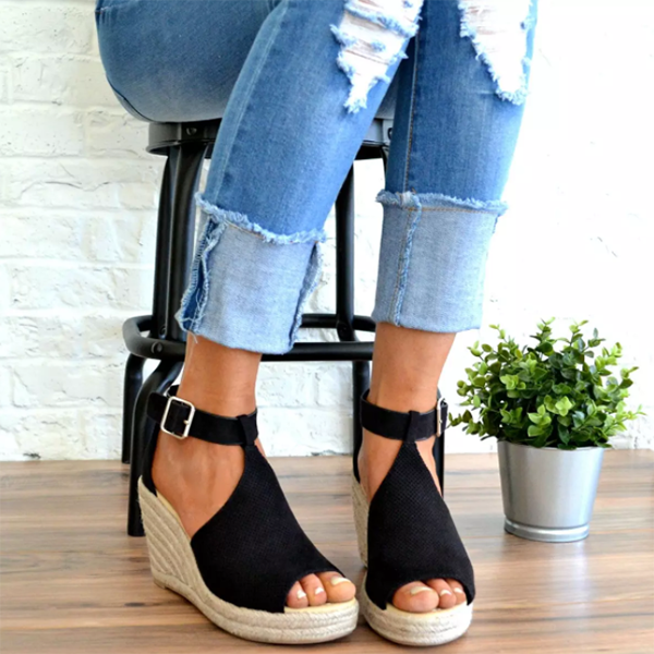Flipmoda Wedges Adjustable Buckle Sandals