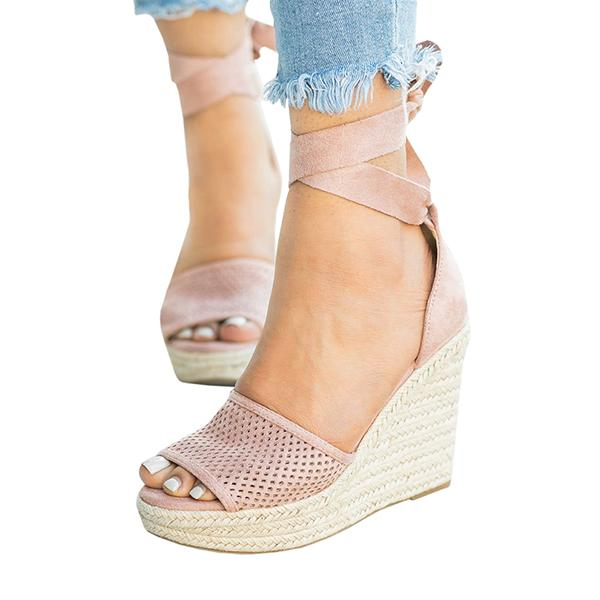 Flipmoda Espadrille Lace Up Wedge Braided Sandals