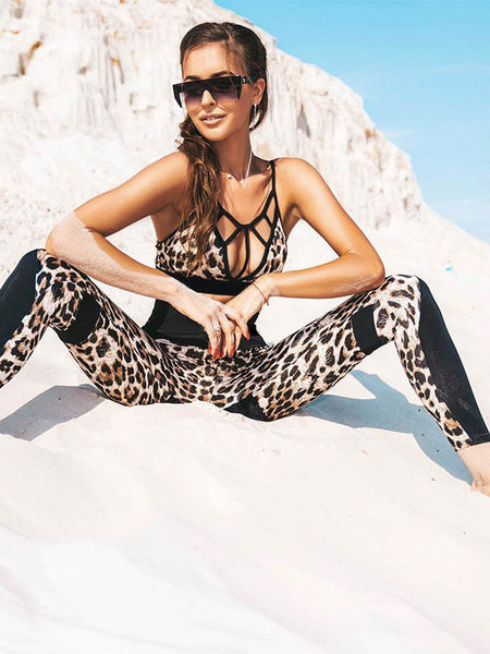 Flipmode Leopard Sports Bra Tights Yoga Workout Set