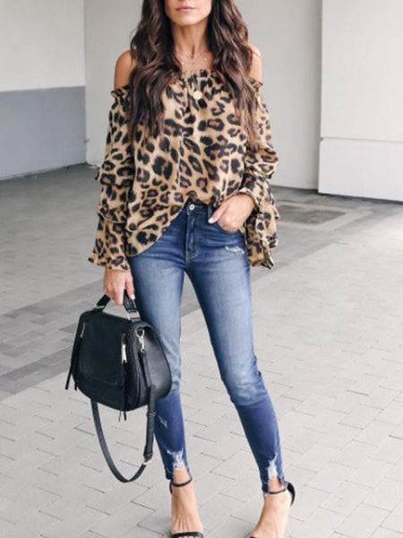 Flipmoda Leopard Printed Off Shoulder Flare Long Sleeve Blouses