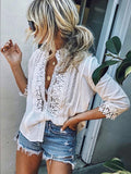 Flipmoda Fashion Solid Lace Blouse