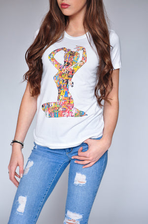 "WOMEN'S ""PINUP COLLAGE"" CREWNECK TEE - Soul Joiner"