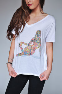 "WOMEN'S ""PINUP COLLAGE II"" SPECIAL EDITION FLOWY V-NECK"