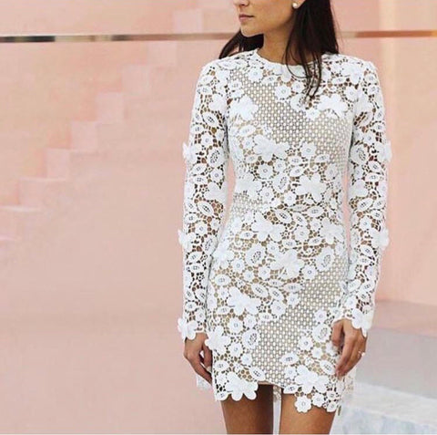Self Portrait 3D Floral Lace Mini Dress