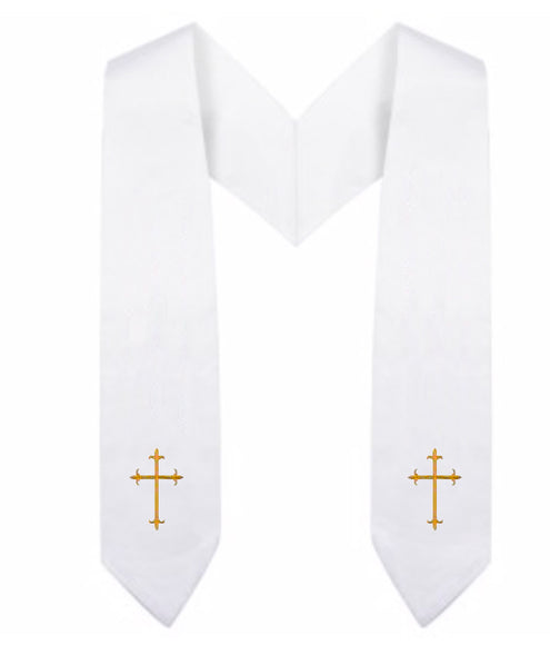 White Children Choir Stole - Church Choir Robes - ChoirBuy