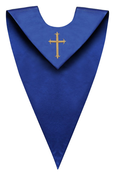 Royal Blue V-Neck Choir Stole - Church Choir Robes - ChoirBuy