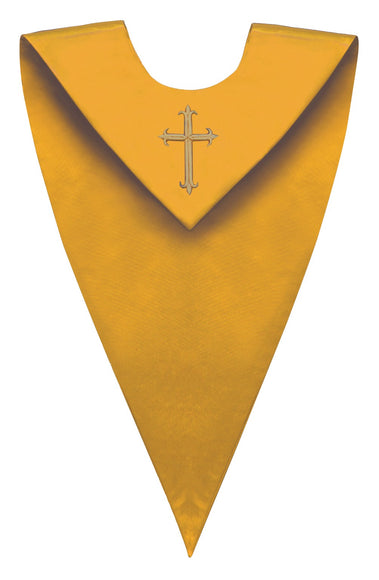 Gold V-Neck Choir Stole - Church Choir Robes - ChoirBuy