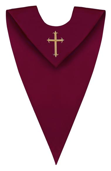 Maroon V-Neck Children Choir Stole - Church Choir Robes - ChoirBuy