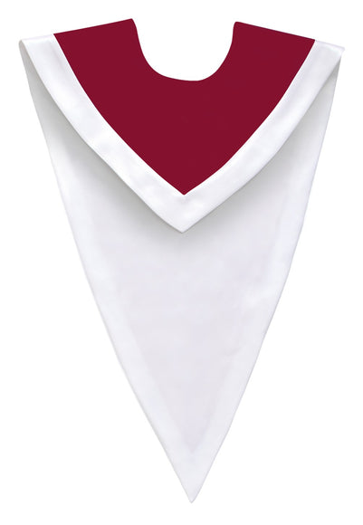 Maroon/White V-Neck Choir Stole - Church Choir Robes - ChoirBuy