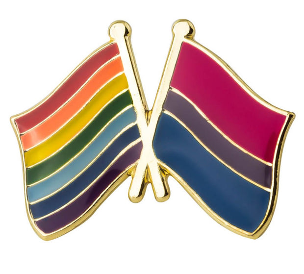Bisexual Rainbow Crossed Flags Lapel Pin