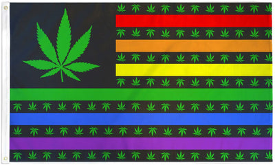 Marijuana Rainbow Flag 3x5ft Poly