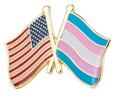 Transgender/US Flag Crossed Flags Lapel Pin