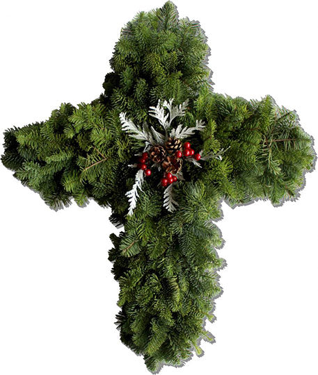 Noble Fir Cross Wreath (24-inches)