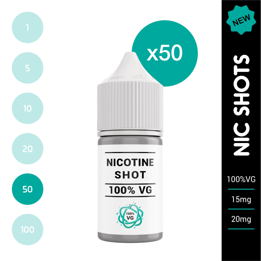 Nicotine Shot 100% VG 15mg or 18mg (50 x 10ml bottles)