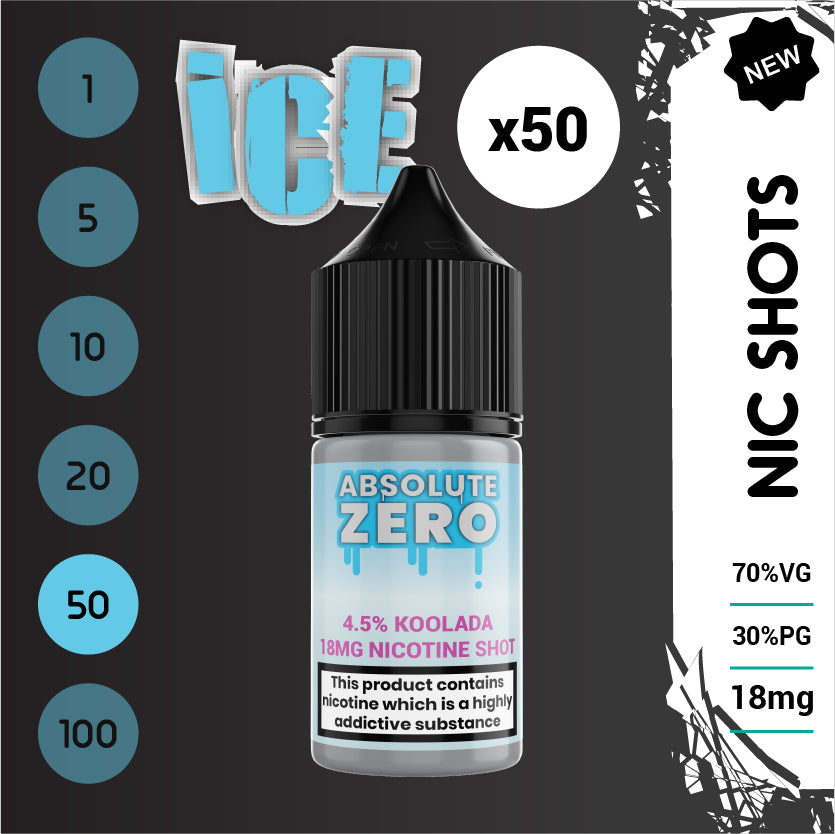 Ice and Extreme Ice Nic Shots 70% VG 18 mg (50 x 10ml bottles)