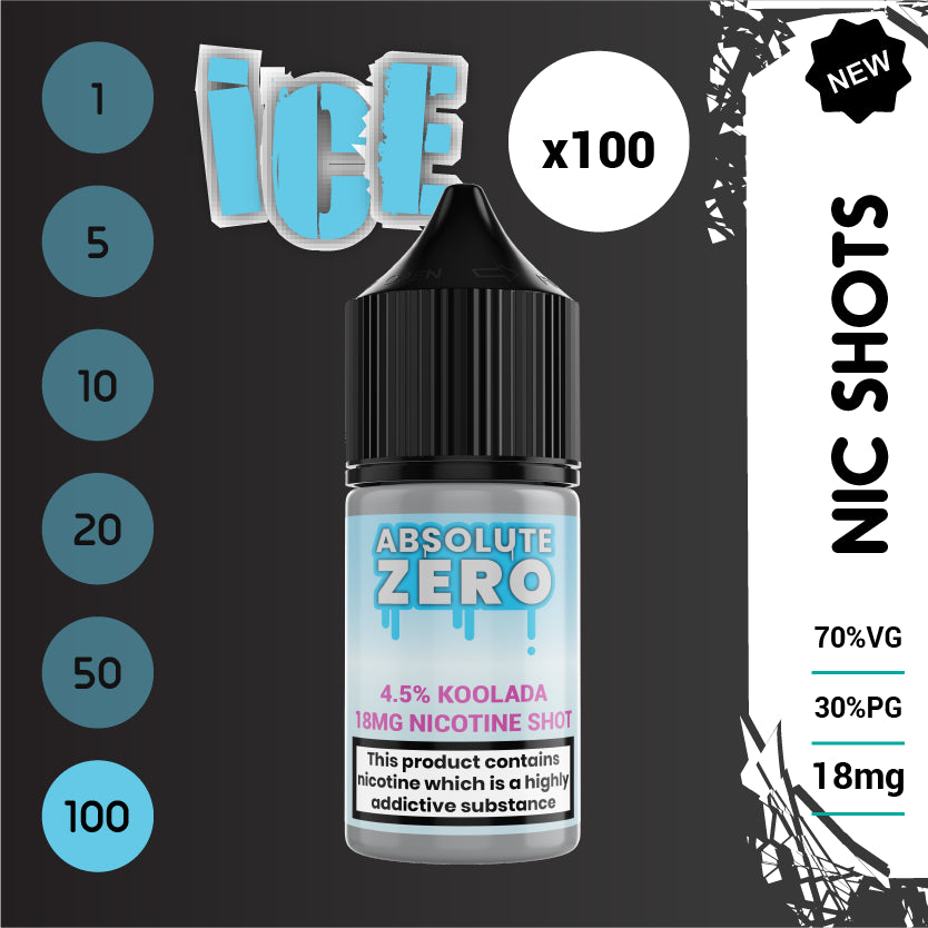Ice and Extreme Ice Nic Shots 70% VG 18 mg (100 bottles)