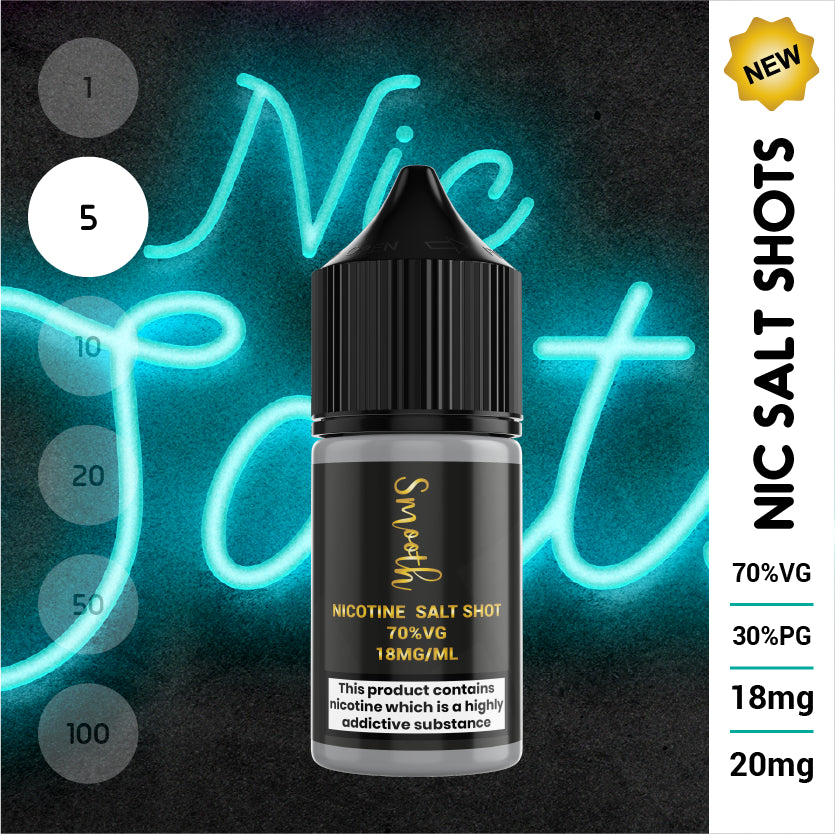 Salt Nic Nicotine Shot 10ml 70% VG 18mg or 20mg (5 x 10ml bottles)