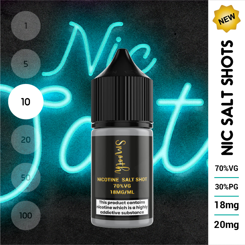 Salt Nic Nicotine Shot 10ml 70% VG 18mg or 20mg (10 x 10ml bottles)
