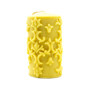 Large Pattern Cylinder - Beeswax Candle