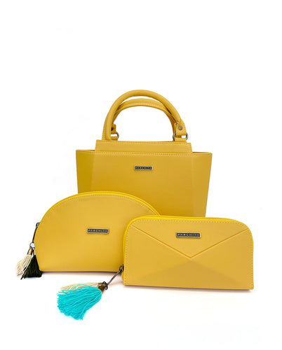 Combo  Mini Piramidal Amarillo + Cosmetiquera + Billetera - Parchita | Paciflora