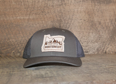 Richardson 112 Low Pro Leather Patch Trucker Hat (Oregon logo)