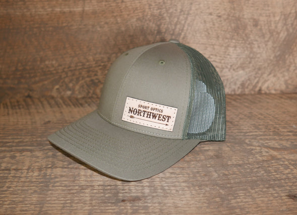 Richardson 112 Low Pro Leather Patch Trucker Hat (Arrow Logo)