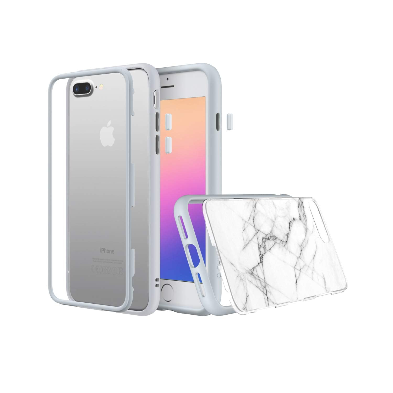 RhinoShield MOD Bundle For IPhone 7 Plus/8 Plus (with Rim, Button, Frame, White Roma Marble Back Plate