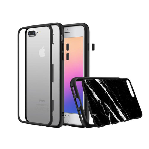 RhinoShield - MOD for iPhone 7 Plus / 8 Plus (Black Rim, Button & Frame, Black Marble Back Plate)