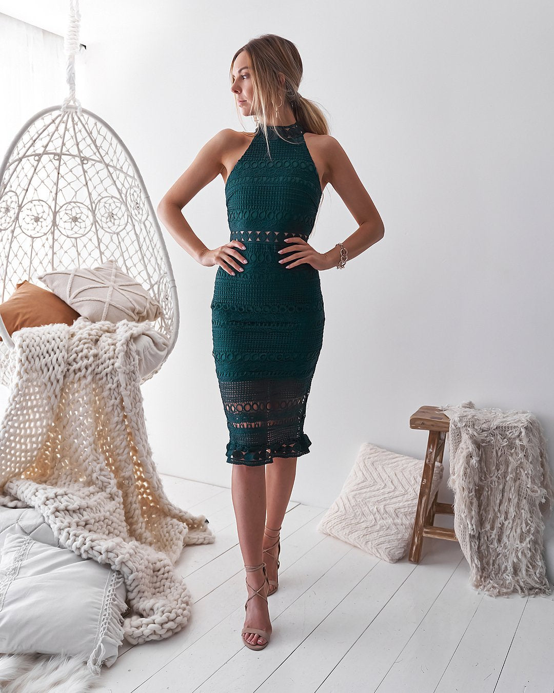 Twosisters The Label Rivers Midi Dress Emerald Green