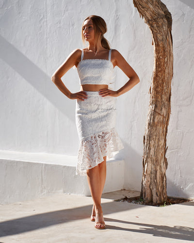 Skyler Lace Skirt - White