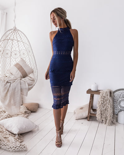 Rivers Midi Dress - Navy