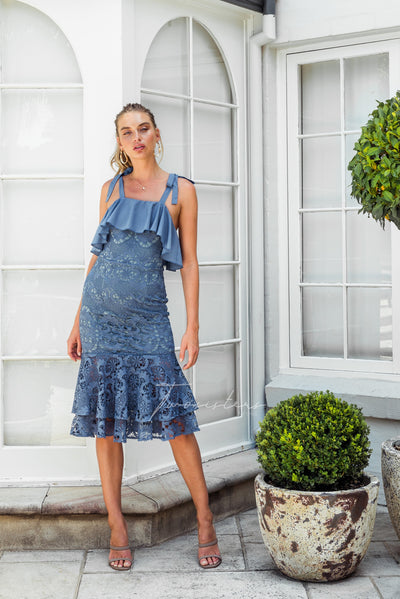 Mallory Dress - Steel Blue