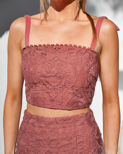 Twosisters The Label Skyler Lace Top Mauve