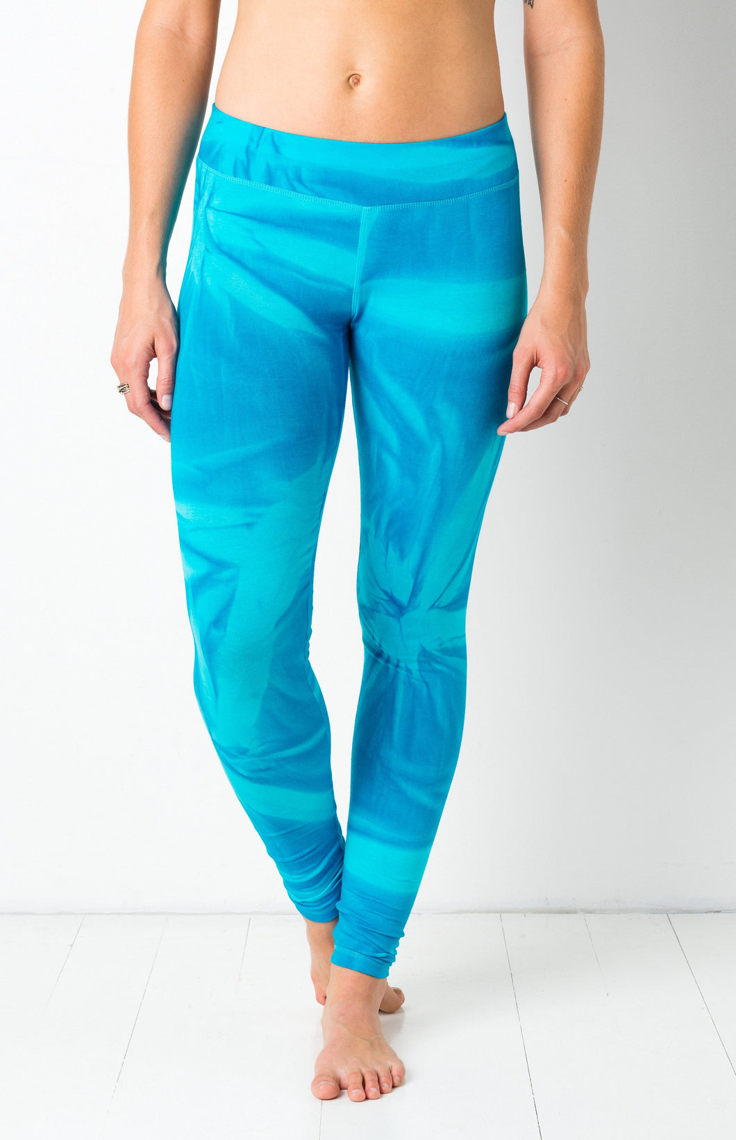 Thin Lycra Turqoise Star Leggings- yoga pants