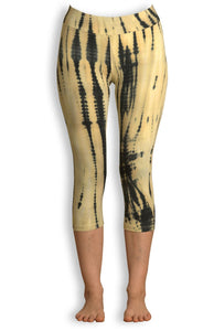 Cream Net Tie Dye Capri Leggings