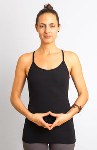 Black  Viscose/ Lycra  Strap Top