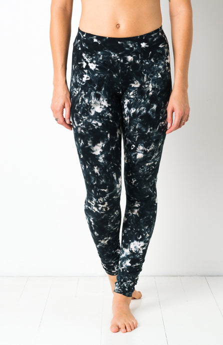 Full Black Smoke Tie Dye Leggings- yoga pants