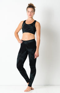 Thin Lycra Black Star Leggings- yoga pants