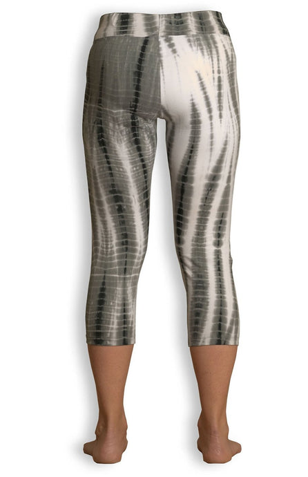 Black/Grey Net Tie Dye Capri Leggings