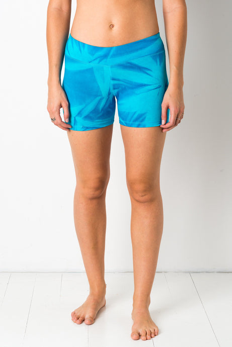 Thin lycra Turqoise Star yoga shorts