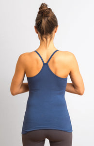 Indigo Blue Viscose/ Lycra  Strap Top