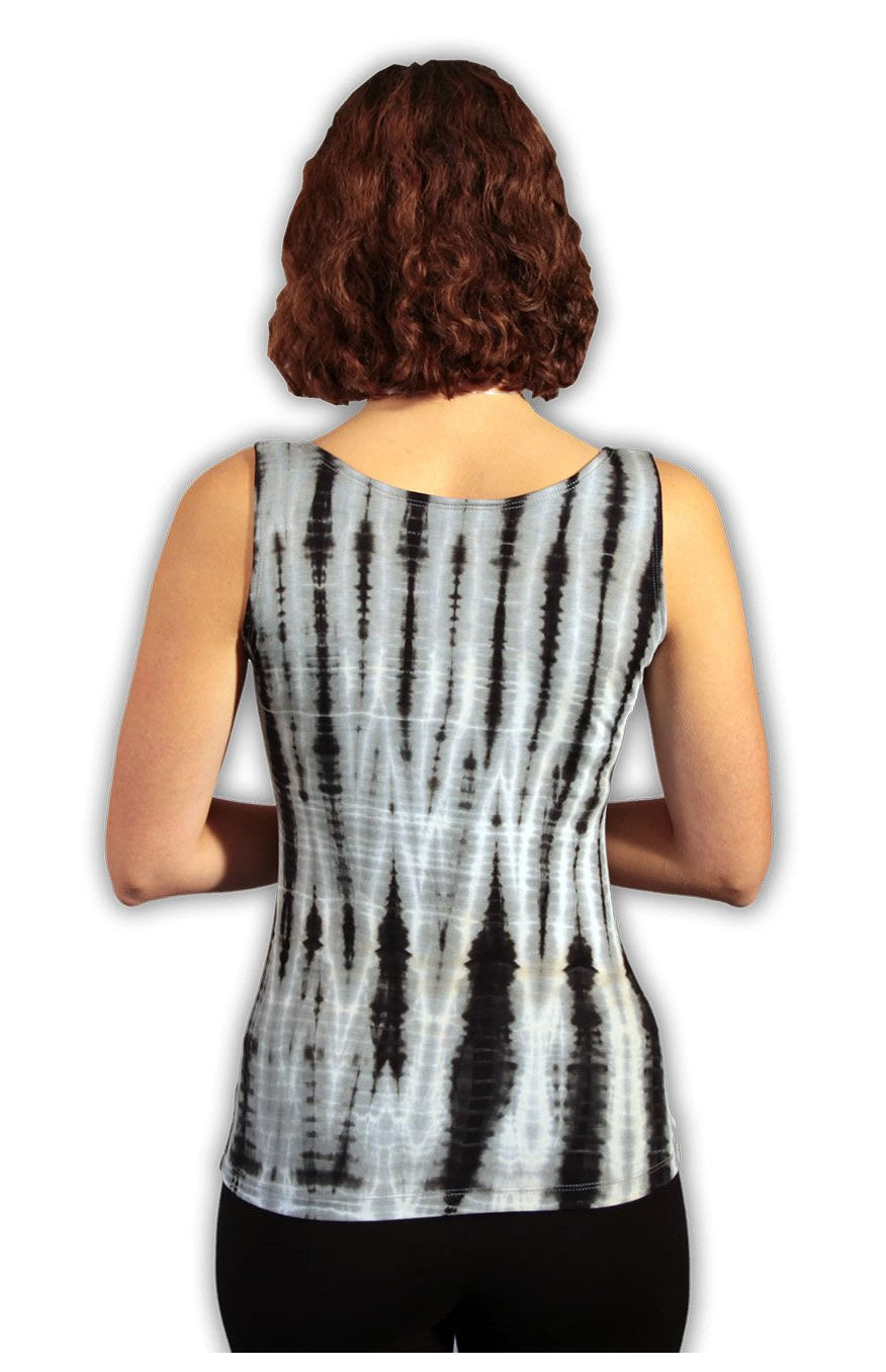 Black/ Grey Net Tie Dye Viscose/ Lycra Top