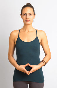 Dark Teal Viscose/ Lycra  Strap Top