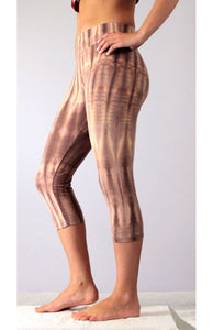 Gold Latte Net Tie Dye Capri Leggings