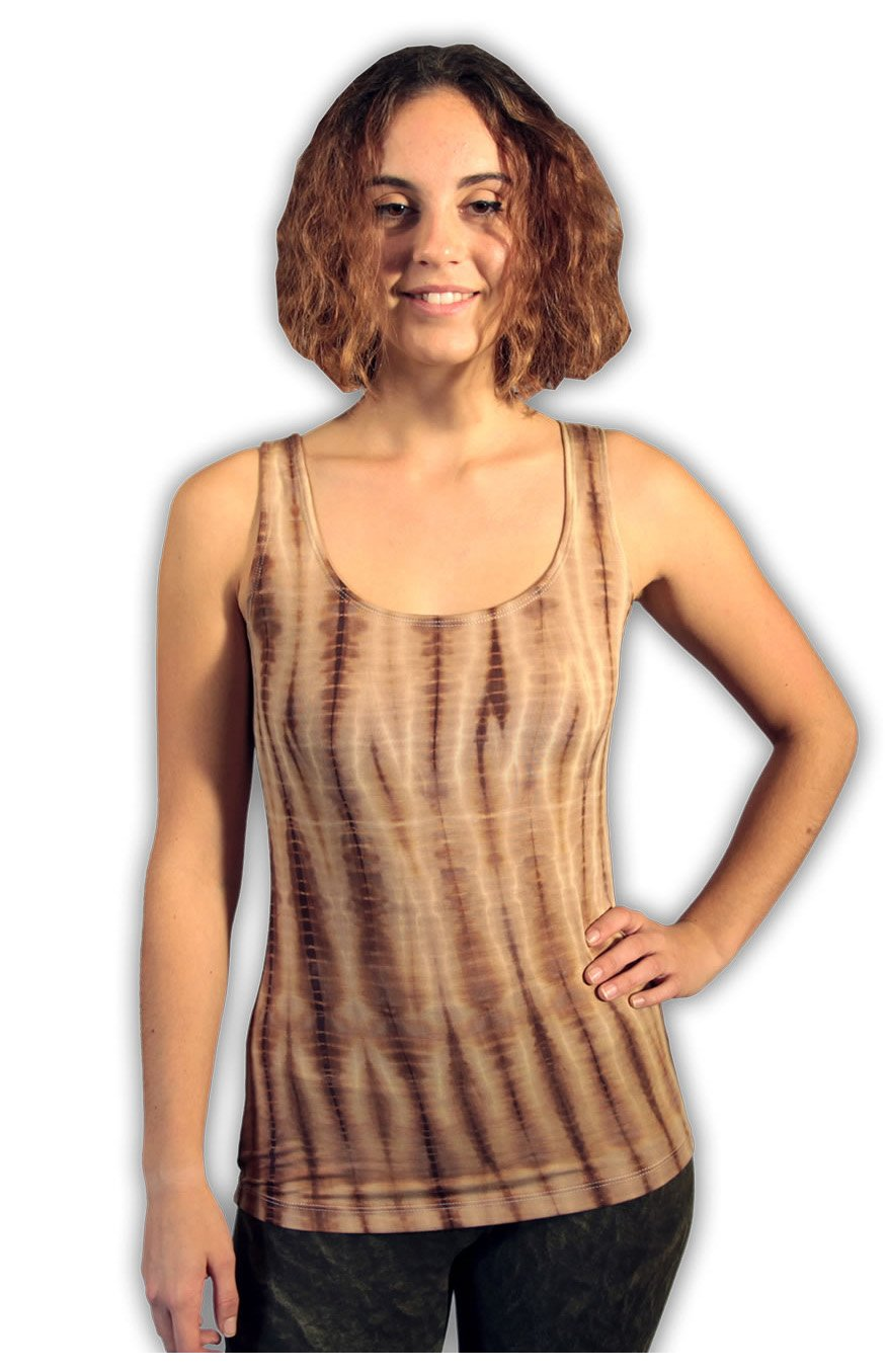 Gold Latte Net Tie Dye Viscose/ Lycra Top
