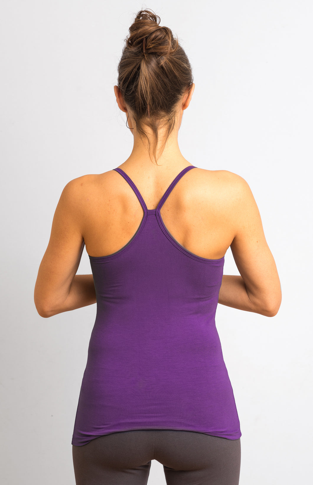 Purple Viscose/ Lycra  Strap Top
