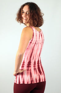 Raspberry Net Tie Dye Viscose/ Lycra Top
