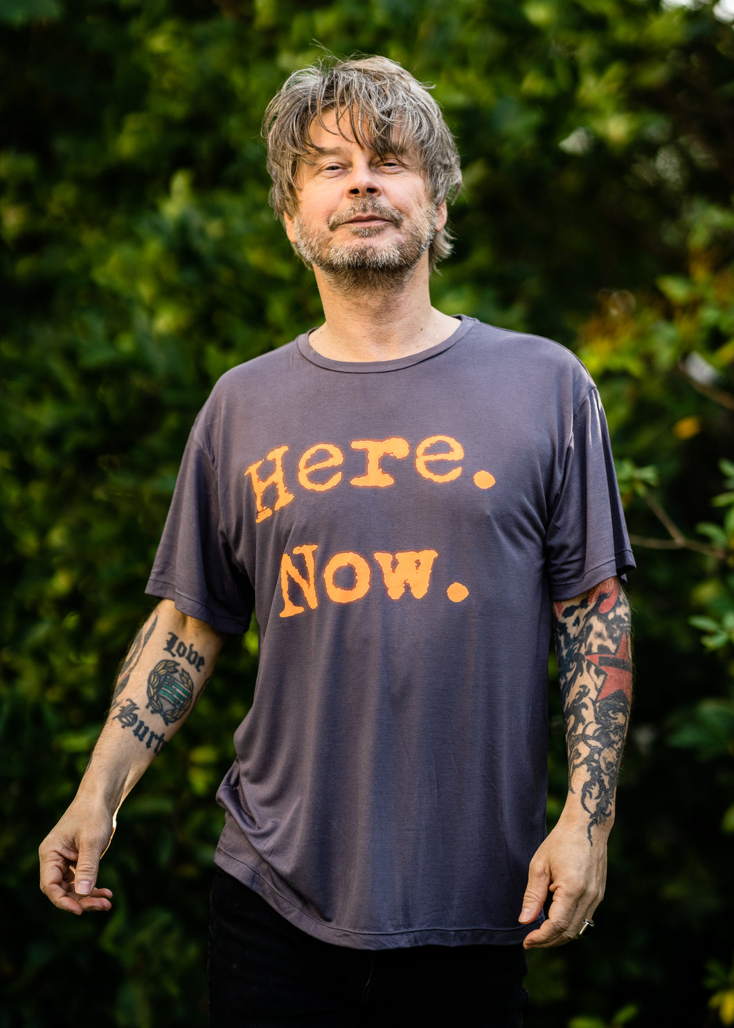 Organic Bamboo t-shirt : Here. Now print, Rabbit/ Orange